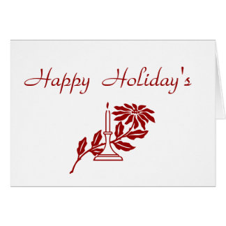 Poinsettia and Candle Happy Holidays Card