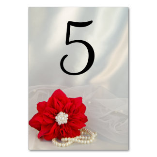 Poinsettia and Pearls Winter Wedding Table Numbers Table Card
