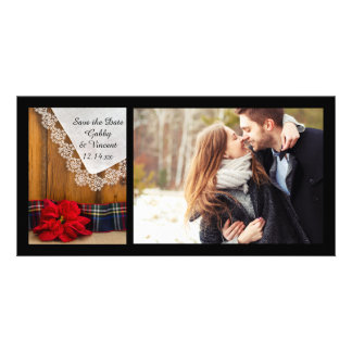 Poinsettia and Plaid Winter Wedding Save the Date Personalised Photo Card