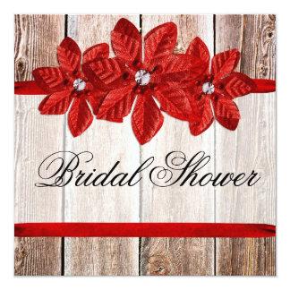 Poinsettia Barn Wood Red Ribbon Bridal Shower Card