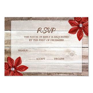 Poinsettia Barn Wood Wedding RSVP Response Card