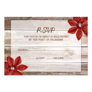 Poinsettia Barn Wood Wedding RSVP Response Card Personalized Invite