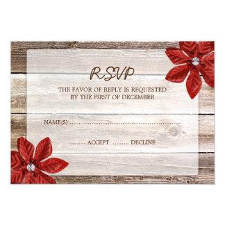 Poinsettia Barn Wood Wedding RSVP Response Card Personalized Invite