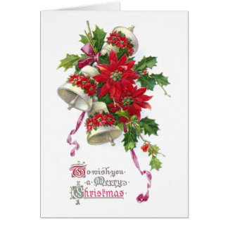 Poinsettia Bells and Holly Vintage Christmas Greeting Card