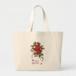 Poinsettia Bells and Holly Vintage Christmas Jumbo Tote Bag