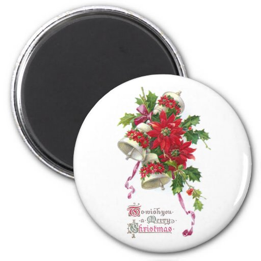 Poinsettia Bells and Holly Vintage Christmas Refrigerator Magnets
