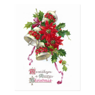 Poinsettia Bells and Holly Vintage Christmas Postcard
