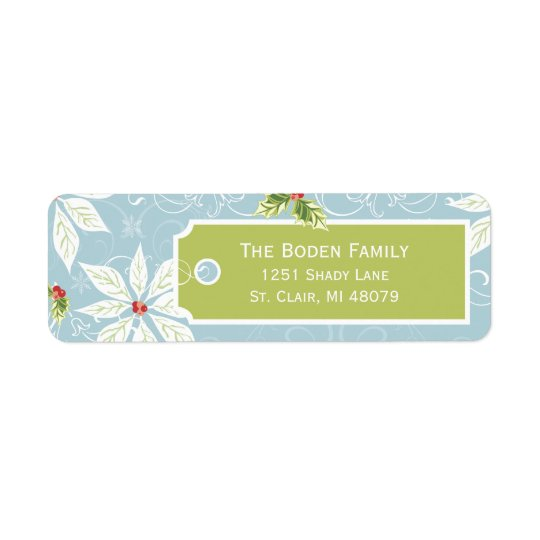 Poinsettia | Blue Holiday Address Labels