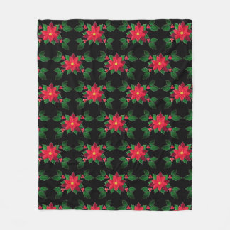 Poinsettia Cheer Fleece Blanket