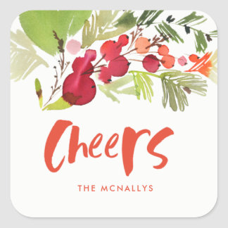 Poinsettia Cheers Gift Tag Sticker