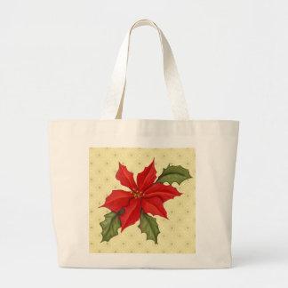 Poinsettia Christmas Canvas Bag