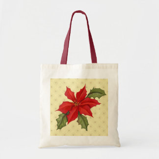 Poinsettia Christmas Budget Tote Bag