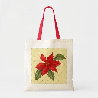 Poinsettia Christmas Budget Tote Bag