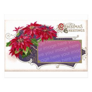 Poinsettia Christmas Card Frame Postcard