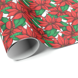 Poinsettia. Christmas decor flower Wrapping Paper