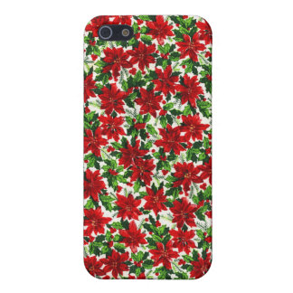 Poinsettia Christmas Fabric Cases For iPhone 5