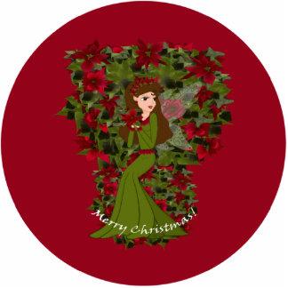 Poinsettia Christmas Faery Ornament Photo Cutouts
