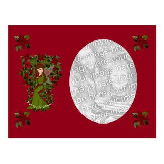 Poinsettia Christmas Fairy Photo Postcard