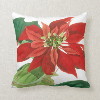 Poinsettia Christmas Floral Cushion