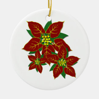 Poinsettia Christmas Flowers Custom Year 2017 Christmas Ornament