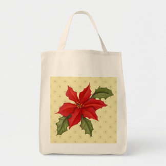 Poinsettia Christmas Grocery Tote Bag