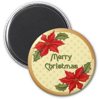 Poinsettia Christmas Magnets