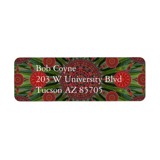 Poinsettia Christmas Mandala Array Mailing Label Return Address Label
