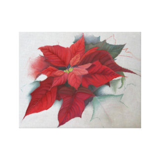 Poinsettia Christmas Oil Painting Stretched Canvas Prints