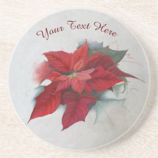 Poinsettia Christmas Oil Painting Drink Coaster