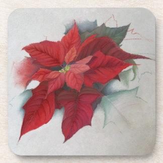 Poinsettia Christmas Oil Painting Coaster