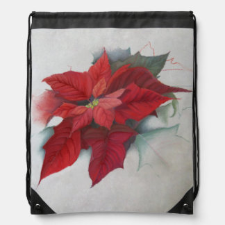 Poinsettia Christmas Oil Painting Drawstring Bag