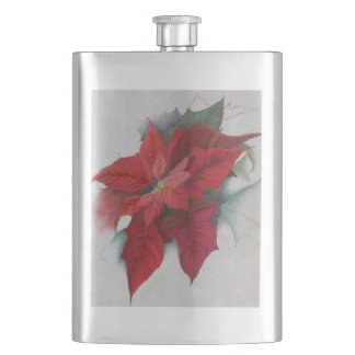 Poinsettia Christmas Oil Painting Hip Flask