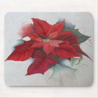 Poinsettia Christmas Oil Painting Mousepads