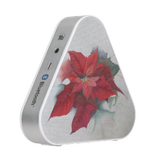 Poinsettia Christmas Oil Painting Bluetooth Speaker
