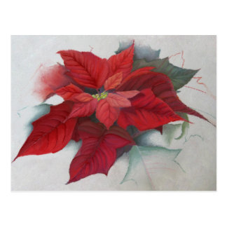Poinsettia Christmas Oil Painting Post Cards