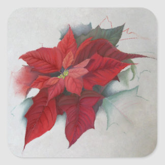 Poinsettia Christmas Oil Painting Square Sticker