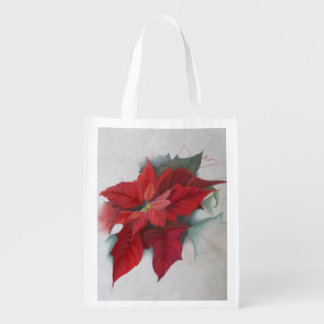 Poinsettia Christmas Oil Painting Market Tote