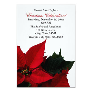 "Poinsettia Christmas Party Invitations 3.5"" X 5"" Invitation Card"