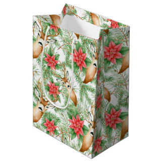 Poinsettia Christmas pattern Medium Gift Bag