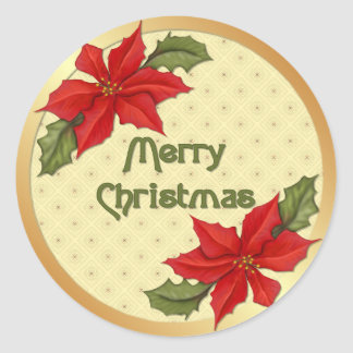 Poinsettia Christmas Round Sticker