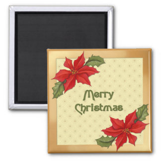 Poinsettia Christmas Square Magnet