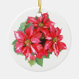 Poinsettia Christmas Star transparent PNG Round Ceramic Decoration
