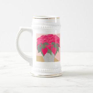 Poinsettia Christmas Stein Coffee Mugs