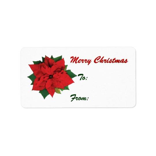 Poinsettia Christmas tags Address Label