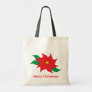 Poinsettia Christmas Tote Budget Tote Bag