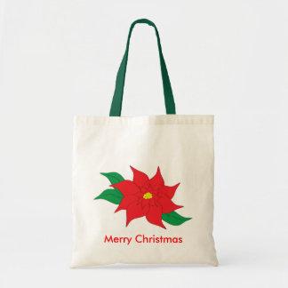 Poinsettia Christmas Tote Budget Tote Bag