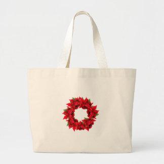 Poinsettia Christmas Wreath Canvas Bags