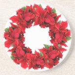 Poinsettia Christmas Wreath Beverage Coaster