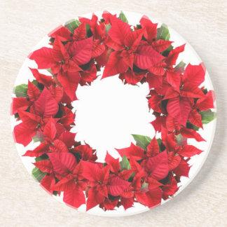 Poinsettia Christmas Wreath Coaster