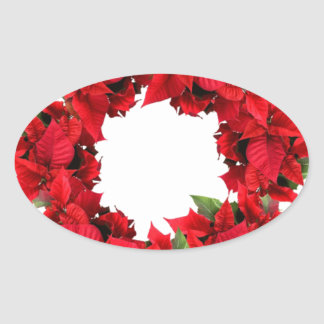 Poinsettia Christmas Wreath Oval Sticker